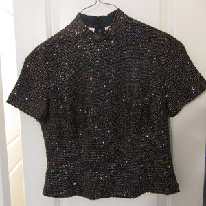 Vintage Oleg Cassini Black Tie Beaded Silk Top